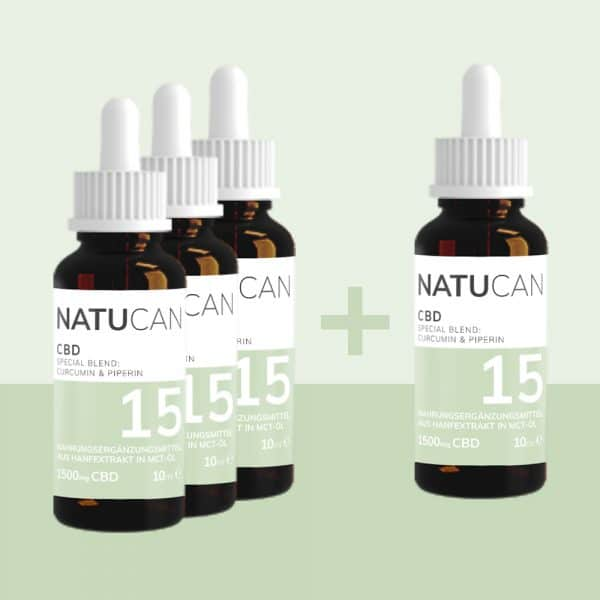 Natucan CBD Öl mit Curcumin und Piperin als 4 fuer 3 Aktion